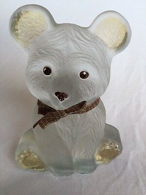 """Viking handcrafted art glass bear w/brown eyes & noise 7"""" bookend/paperweight"""