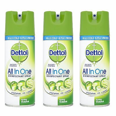 3x Dettol Air Freshener Disinfectant Spray 400 ml All in One - Spring Waterfall