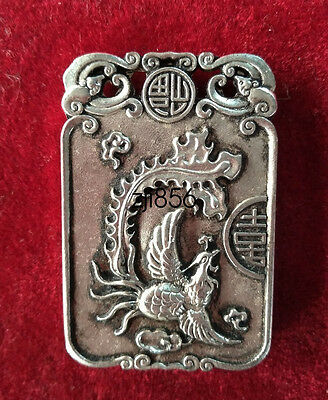 China Decorated Wonderful Miao Silver Carving Lucky phoenix Pendant ZJQ189