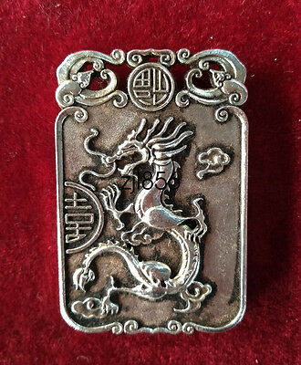 China Decorated Wonderful Miao Silver Carving Lucky Dragon Pendant ZJQ188