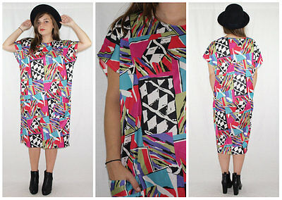 Vintage 80´s TUNIC DRESS vivid colours PICASSO huge patch pockets MINIMALIST