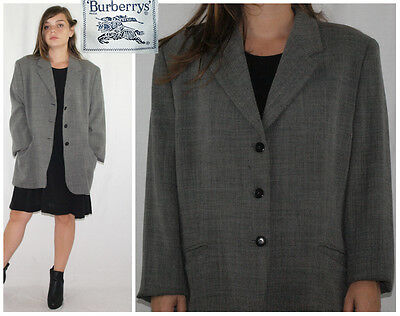 Vintage 80´s BURBERRYS blazer WOOL BLEND graphite TEXTURAL GRID made in Spain