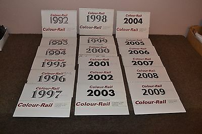 Colour Rail 18 Calenders from 1992-2009 in Excellent codition