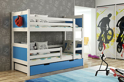 BUNK BED - WHITE FRAME- WOODEN SOLID FRAME ,STORAGE, DRAWERS (inc.2x mattresses)
