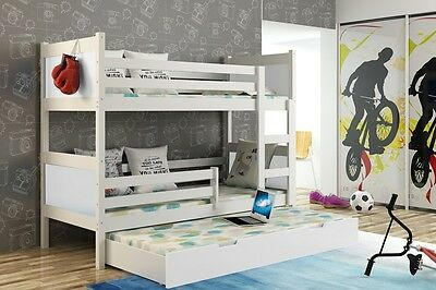 3 TRIPLE BUNK BED - WHITE FRAME- WOODEN ,STORAGE, DRAWERS (inc.3x mattresses)
