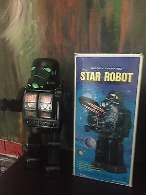 Vintage Black Stormtrooper  Robot (.With Box  ) Works )  Made In HONG KONG .