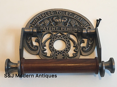 Vintage Toilet Roll Holder Grey Black Victorian Unusual Novelty Waterloo Silver