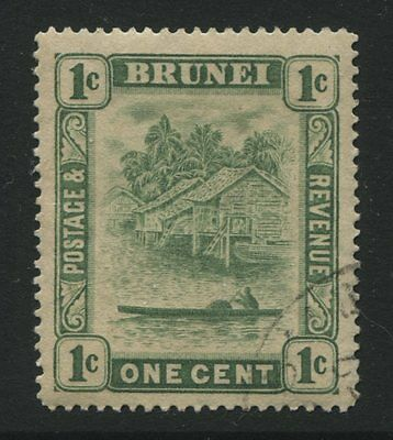 Brunei: 1911 1 cent stamp - green - single plate SG35 Used - AG205