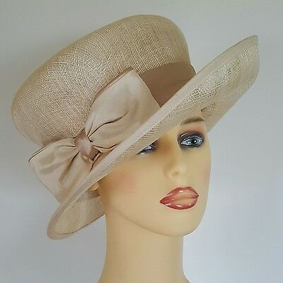 Ladies Wedding Races Mother Bride Ascot Hat Pale Gold by Peter Bettley