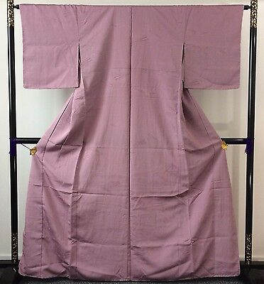 Authentic Japanese dark pink silk kimono for women, very long (J1090)