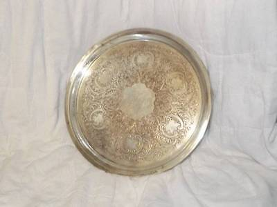 "13"" Silver on Copper Round Serving Tray Vintage Antique"