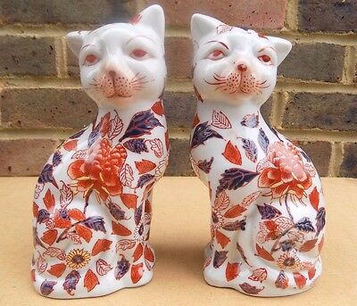Vintage Oriental Ceramic Cat Figurines decorated with Flowers