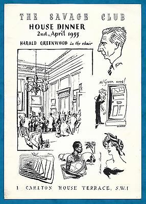 """Large Invitation Card To """"the Savage Club"""" House Dinner April 1955"""