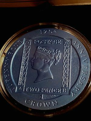 TWO PENCE BLUE - 2015 Ascension Island Colorized CuNi TUPENNY Stamp Coin BOX+COA
