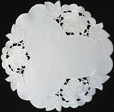 "handmade white 11"" 29cm vintage crochet lace doilie doily doiley round"