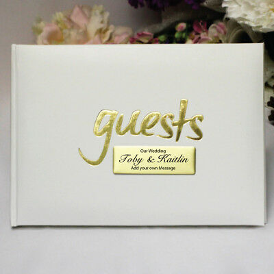 White & Gold Wedding Guest Book - Add a Name & Message
