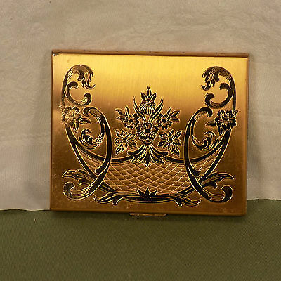 Elgin American Compact Gold Tone Etched With Mirror And Powder Puff Pad