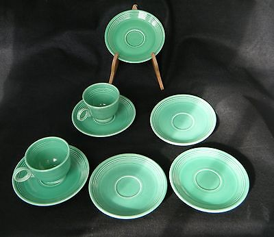 Vintage Fiesta Green Saucers and 2 Tea Cups - Lot Of 8
