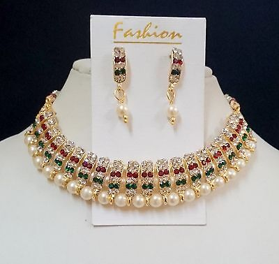 3 Pc Indian Bollywood Ethnic Fashion Jewellery Pearl Diamante Necklace Sets