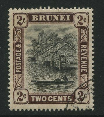Brunei: 1911 2 cents stamp - black & brown SG36 Used - AG208