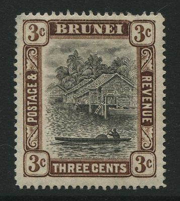 Brunei: 1907 3 cents stamp - grey-black & chocolate SG25 MNG - AG210