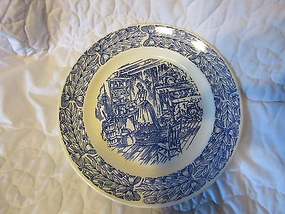 """Vintage Camwood Ivory Blue & White 6"""" Oven Proof Round Plate, Universal USA"""