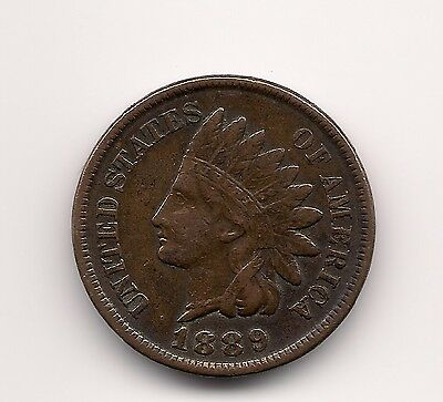"1889 Us.usa,america,american ""indian Head"" Penny One 1 Cent Coin"