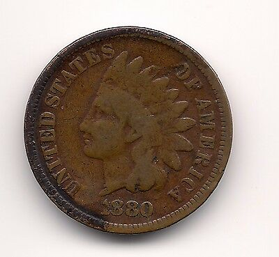 """1880 Us.usa,america,american """"indian Head"""" Penny One 1 Cent Coin"""
