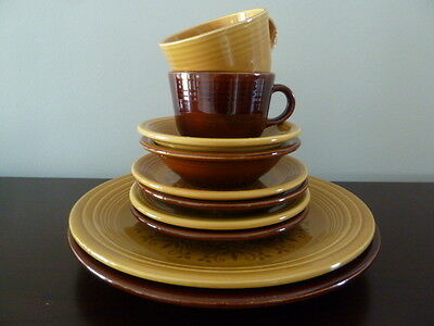 Fiesta Ironstone Antique Gold Amberstone  Dinner, Salad, Teacup plus fruit bowl