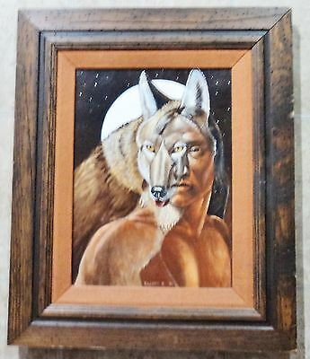 "Parker Boyiddle - Kiowa - ""Coyote"" - Acrylic on Canvas Dated 80 - 16X12 - RARE"