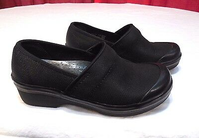 Dansko Volley Black Leather Slip On Clogs Womens Size 37 / 6.5 - 7