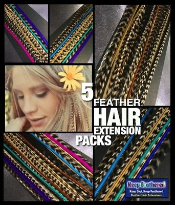 Feather Hair Extensions 20 Mixed Naturals 4FREE Pack Beads Tool CraftKit NEW Pks