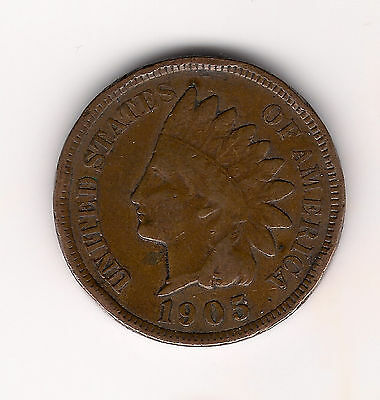 "1905 Us.usa,america,american ""indian Head"" Penny One 1 Cent Coin"