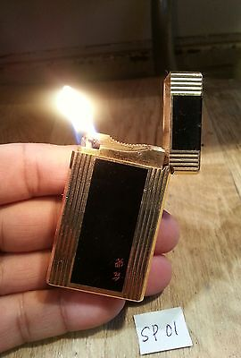 St dupont modified petrol lighter SP01 ~ Ligne 1 large black plaque gold plated