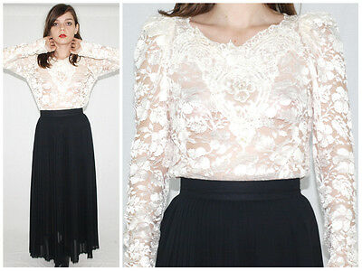 Vintage 70´s WEDDING BODICE pearlescent ivory lace VICTORIAN puff slevees BOHO