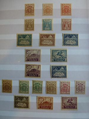 STAMPS: POLAND, 1919 Issues, See scans