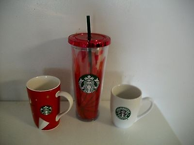 Starbucks Tumbler 16 Oz Travel Coffee Mug  & 2 Cups  MERMAID