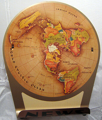 1953 Azimuthal Equidistant Earth Air Age Map of the World Tin Polar Projection