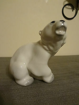USSR Roaring Polar Bear Figurine Russian Pottery Figurine Russia Excellent