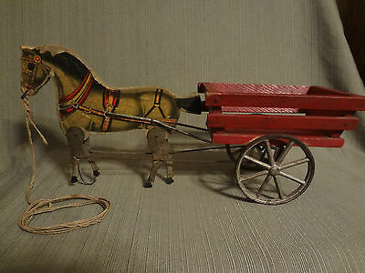 Antique Gibbs Wood Lithograph Horse Trotter Cart Pull Toy 1908