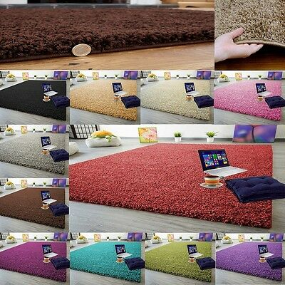 Small Large Xl Size Thick Plain Soft Shaggy Rug Non Shed High Pile Modern Rugs