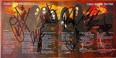 Cradle Of Filth Full Band Autograph Cd Booklet. Danmnatoin And A Day.