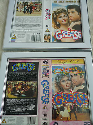 Grease 20th anniversary & Rare CIC Double Bundle Cover Vhs sleeves Framed