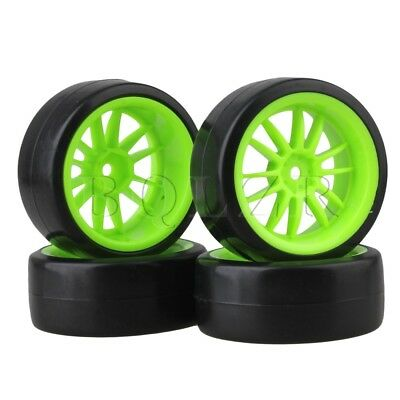 Green Wheel Rims Smooth Tires RC1:10 On Road Racing Car & Drift Car Pack of 4