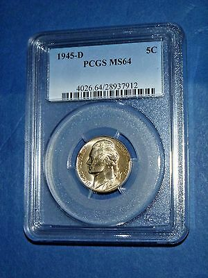 1945-D 5C Jefferson Nickel-PCGS MS 64--171-3