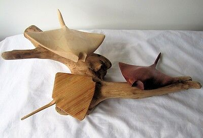 Stingray / Manta Ray sculpture - Hand carved sea life wood sculpture  / ornament
