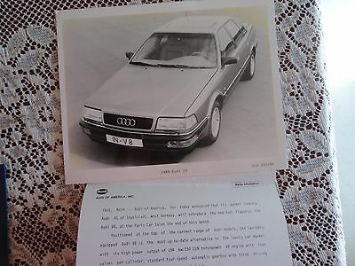 8x10 factory advertising photo with media info 1989 Audi V8