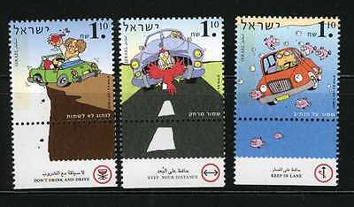 Israel 1997 Cars Road Safety Sc. 1308 - 1310  MNH with Tabs (AI_2)