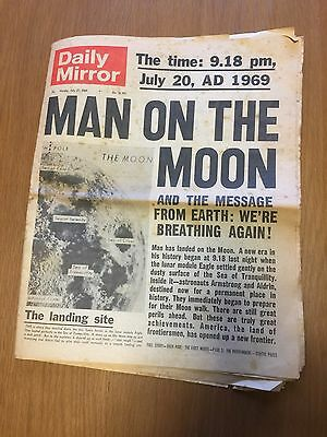 Vintage Daily Mirror Newspaper July 1969 Man On The Moon