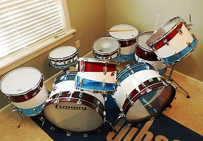 VINTAGE 1970's LUDWIG VISTALITE DRUM KIT WITH MATCHING SNARE - RARE PATTERN D